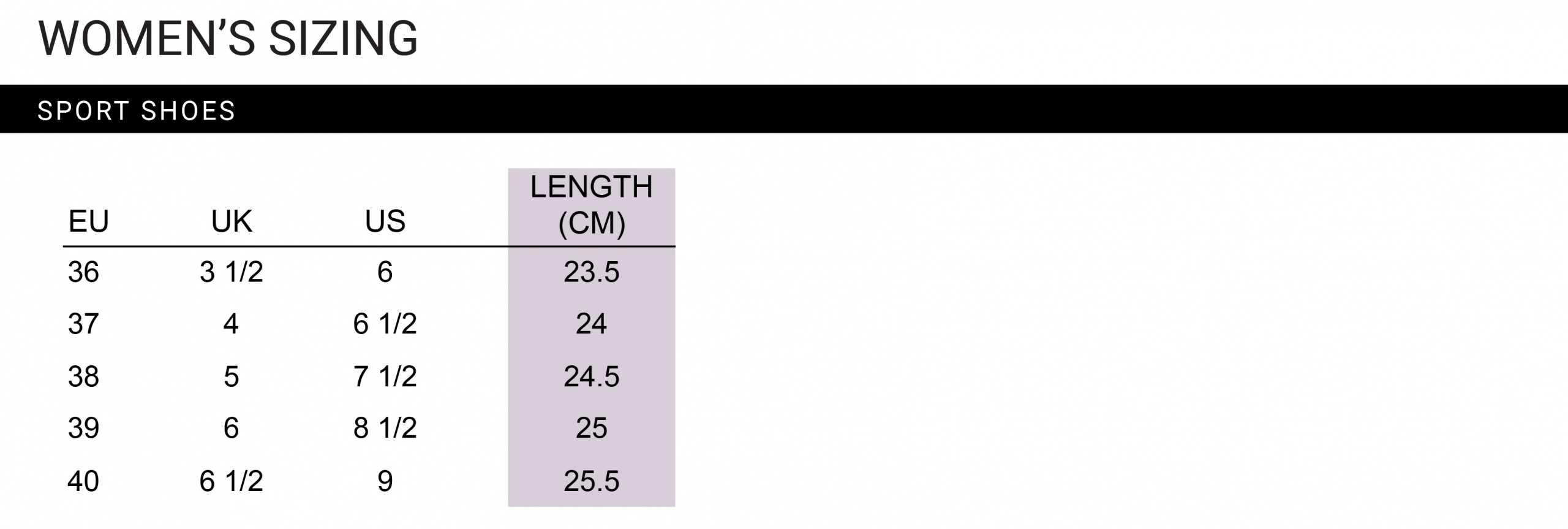 women's shoe size